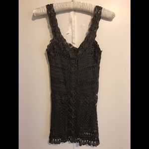 NWT fully lined intricately crocheted tank top